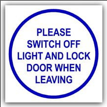 1 x Please Switch Off Light and Lock Door When Leaving-87mm,Blue on White-Health and Safety Security Door Warning Sticker Sign-87mm,Blue on White